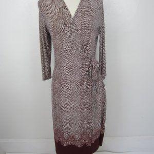 GILLI Burgundy Border Print Wrap Style Dress S